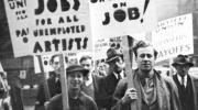 An Artists' Union march in the USA in the 1930s
