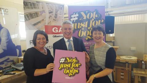 Women'stec CEO Lynn Carvill (left) with Mark Nutt and Maria Bradley from Gilbert-Ash
