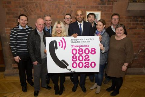 Kevin Higgins (third from left) at the launch of Advice NI's Universal Credit helpline