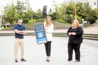 App designer Stephen McPeake, Belfast Lord Mayor Kate Nicholl, and Justice Minister Naomi Long