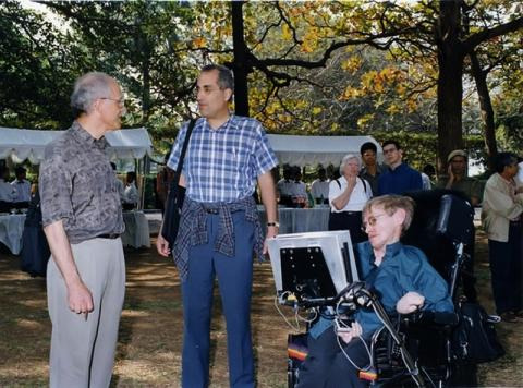 """Stephen Hawking - here at a conference with renowned physicists David Gross (left) and Ed Witten - has said he would consider ending his own life if he had """"nothing more to contribute"""""""