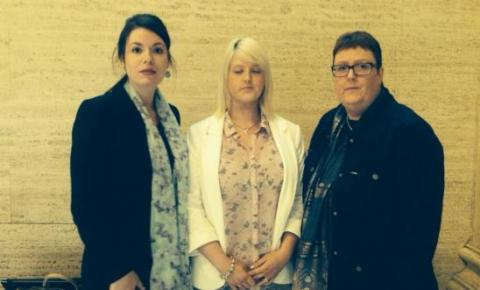 Amnesty's Grainne Teggart, Sarah Ewart, and Sarah's mother Jane Christie