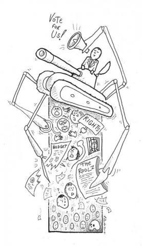 Charities Knitting Machine Cartoon