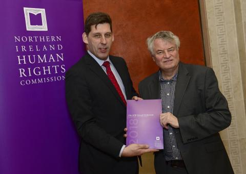 Lord Duncan of Springbank, Parliamentary Under Secretary of State for Northern Ireland, and Commissioner Les Allamby at the launch of the statement this week
