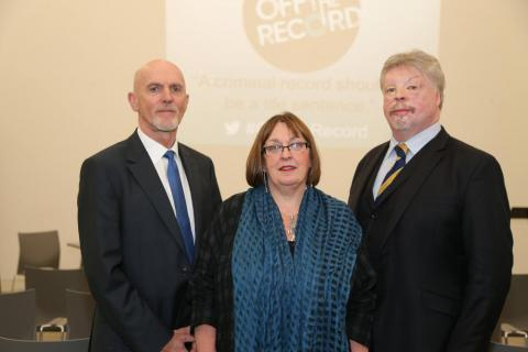 Bob Ashford and Simon Weston at the Off The Record launch with NIACRO CEO Olwen Lyner