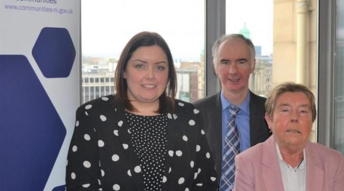 Communities Minister Deirdre Hargey, Kevin Higgins from Advice NI, and mitigations expert Prof. Eileen Evason