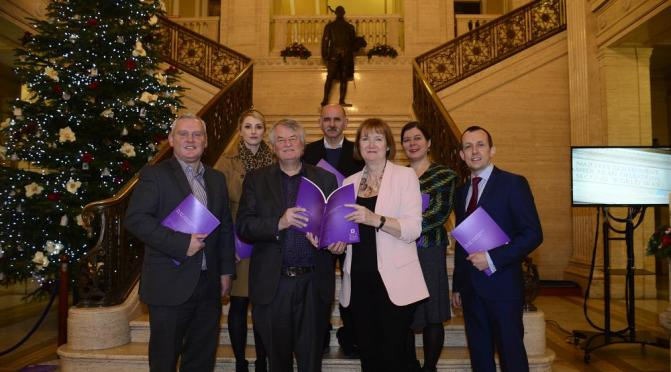 Left to right: John McCallister (Commissioner); Helena Macormac (Commissioner); Chief Commissioner, Les Allamby; Eddie Rooney (Commissioner); The Rt Hon Harriet Harman QC MP; Helen Ferguson (Commissioner); and Northern Ireland Human Rights Commission Chief Executive, David Russell at the Northern Ireland Human Rights Commission's 2017 Annual Statement Launch.