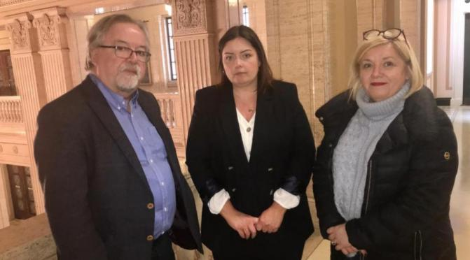 Communities Minister Deirdre Hargey MLA (centre) with NICVA Chief Executive Seamus McAleavey and Deputy Chief Executive Una McKernan